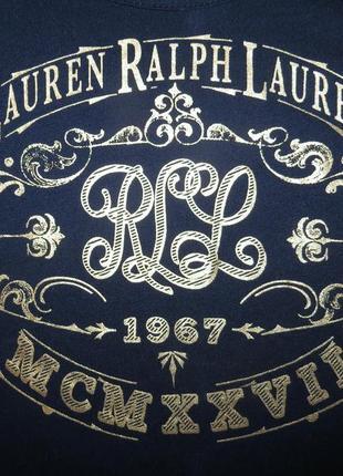 Стильная футболка с золотистым принтом ralph lauren размер xs-s