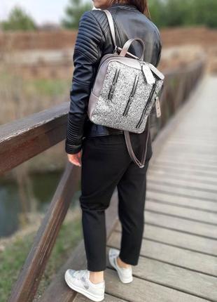 Сумка-рюкзак декорированный глиттером