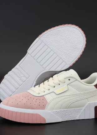 Puma cali white белые с розовым ♦ женские кроссовки ♦ весна лето осень