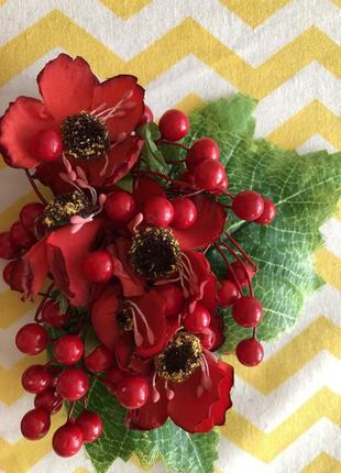Повязка заколка украшение ягоды калина цветы