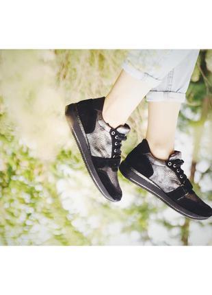 Стильные женские кожаные кроссовки серебристые натуральная замша кожа