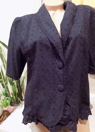 Прошва (плотный ажур) пиджак летний блузка размер 50-52  укр (18 английский)