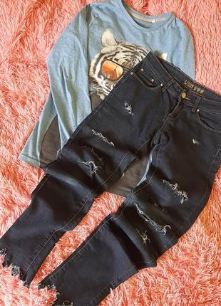 Джинсы ранки джинсы с дырками штаны рваные скинни джинсы