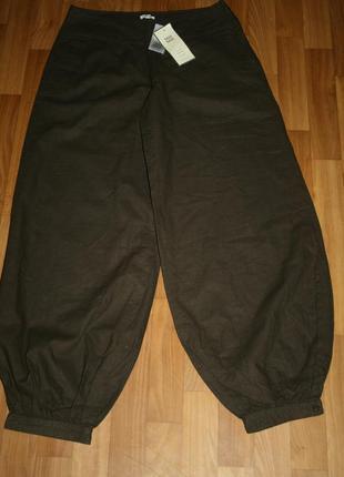 Льняные коричневые удобные брюки-капри от noa noa