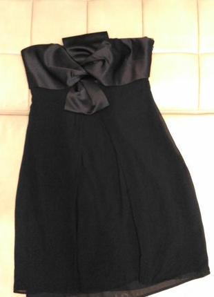 Вечернее чёрное платье coast с открытыми плечами, с бантом на груди, размер l/12