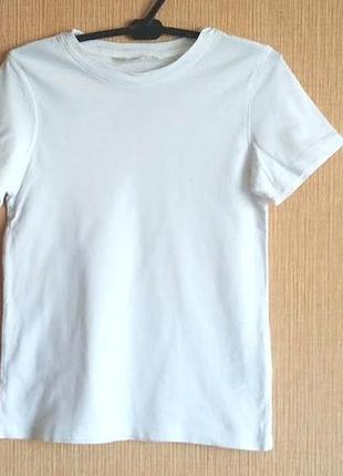 Белая хлопковая футболка h&m на 4-6 лет рост 110-116 см