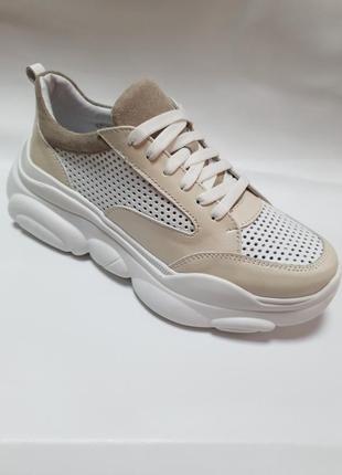 Кожаные облегченные кроссовки с перфорацией от производителя 36-40р шкіряні кросівки6 фото