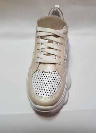 Кожаные облегченные кроссовки с перфорацией от производителя 36-40р шкіряні кросівки7 фото