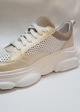 Кожаные облегченные кроссовки с перфорацией от производителя 36-40р шкіряні кросівки8 фото