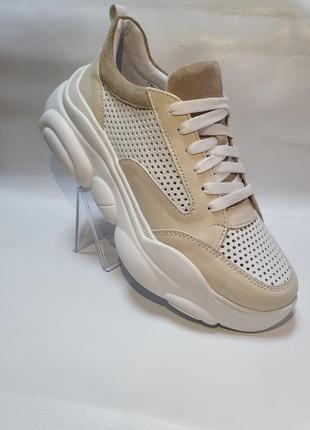 Кожаные облегченные кроссовки с перфорацией от производителя 36-40р шкіряні кросівки9 фото