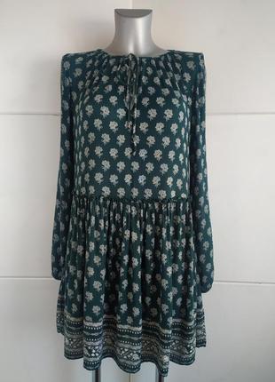 Стильное платье zara с принтом цветов