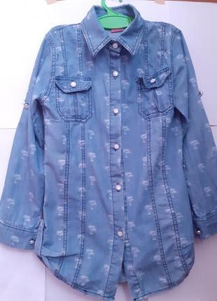 Стильная джинсовая рубашка для девочки