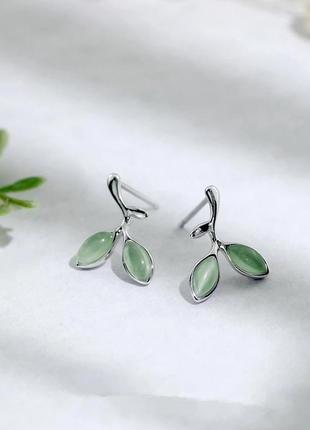 Серебряные серьги оливковые ветки, серебро, сережки, срібні кульчики