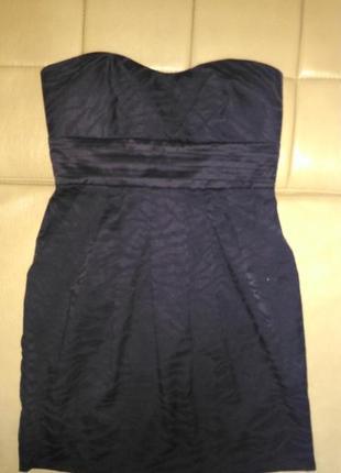 Платье чёрного цвета, вечернее, коктельное ,тигровая рельефная фактура ткани, размер 8-10