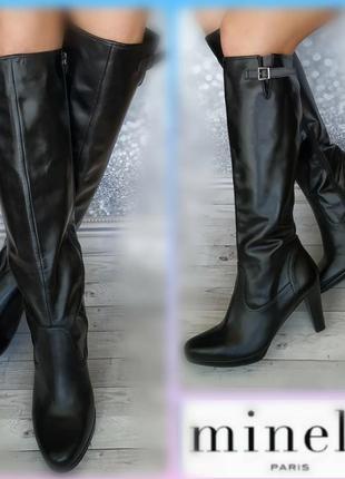 41р кожа новые minelli  франция кожаные высокие сапоги
