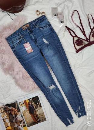 Джинсы джинси скинни зауженные синие качественные с дистресс эффектом