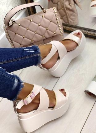 Босоножки сандалии замш кожаные платформа