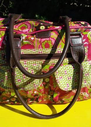 Тканевая большая сумка с кожаными ручками cas 8