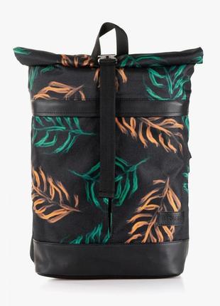 Стильный молодежный городской рюкзак citizen, черный с принтом листьев