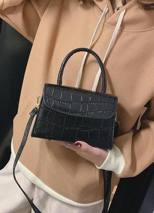 Сумка сумочка мини структурированная кросс боди на ручке в руку эко кожаная черная новая