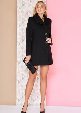 Брендовое черное демисезонное пальто с карманами northmoor вискоза этикетка