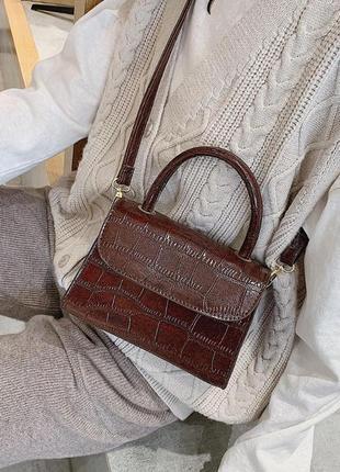 Сумка сумочка мини кросс боди на ручке в руку эко кожаная коричневая новая