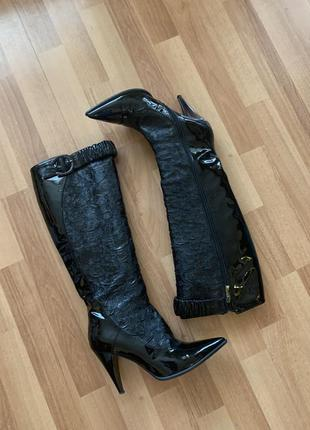 Кожаные сапоги лаковые giorgio piergentili оригинал размер 39