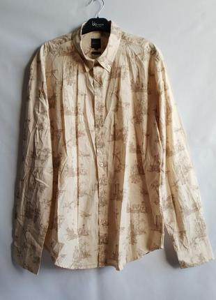 Мужская рубашка regular fit хлопок французского бренда promod европа франция