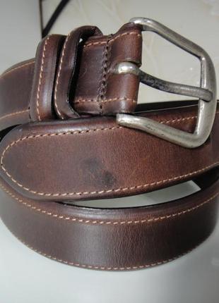 Итальянский кожаный коричневый (3,4 см) ремень, пояс soud brass