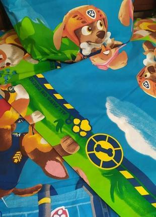 """Детский полуторный комплект постельного белья из ранфорс""""щенячий патруль"""""""