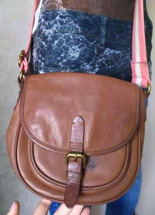 Кожаная сумка седло кроссбоди карамельного коричневого рыжего цвета, john baner