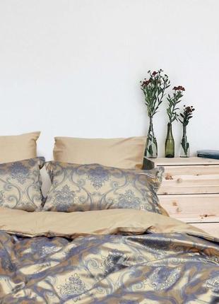 Роскошное постельное белье вилюта сатин tiare жаккард рис.1919 синий шик
