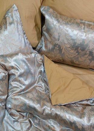 Роскошное постельное белье вилюта сатин tiare жаккард рис.1905 нежная платина