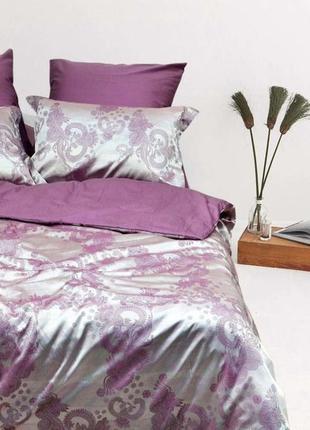 Роскошное постельное белье вилюта сатин tiare жаккард рис.1905 серебряная сирень
