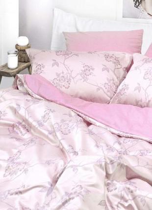 Роскошное постельное белье вилюта сатин tiare жаккард рис.1926 розовые цветы