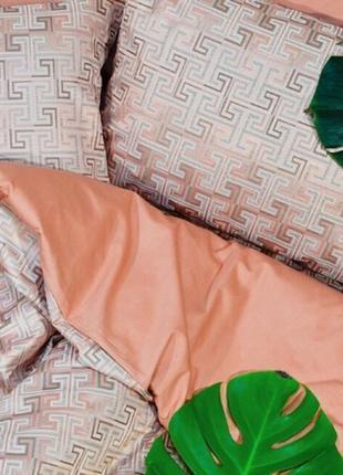 Роскошное постельное белье вилюта сатин tiare жаккард рис.2009 персик с серебром