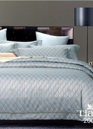 Роскошное постельное белье вилюта сатин tiare жаккард рис.2006 серебристо-голубой