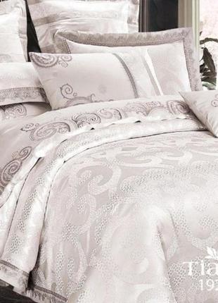 Роскошное постельное белье вилюта сатин tiare жаккард рис.1924 сияющее серебро