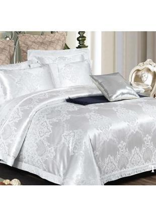 Роскошное постельное белье вилюта сатин tiare жаккард рис.1916 белое серебро