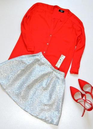 Классная серебряная юбка,юбка нарядная,фактурная юбка.