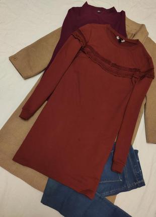 New look платье терракотовое кирпичное коричневое с длинным рукавом
