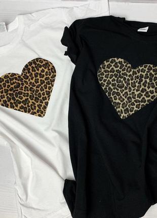 Футболка женская с принтом леопардовое сердечко, в расцветках и размерах))))
