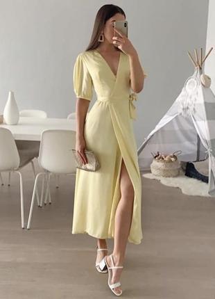 Zara лимонное платье миди, s, m, l