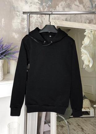 Базовое черное худи кофта с капюшоном