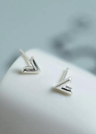 Серебряные серьги v, сережки, серебро, срібні кульчики, срібло
