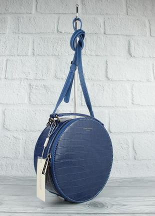 Круглая сумочка через плечо david jones 6145-2 синяя с тиснением под крокодила