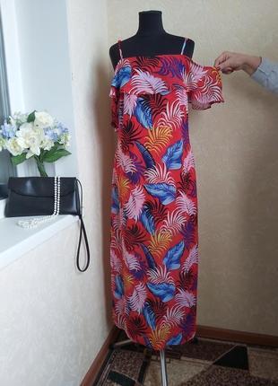 Яркое шифоновое платье new look