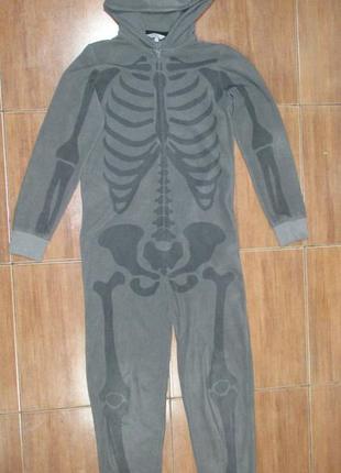 Кигуруми слип пижама человечек скелет 13-14 лет