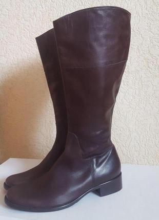 Коричневые сапоги шоколадного цвета l.k.bennett кожа кожаные на весну весенние ботфорты