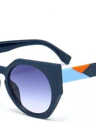 Солнцезащитные очки женские цветные дужки (синие)